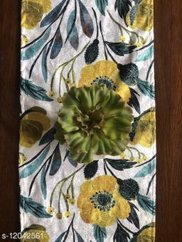 The Home Talk Velvet Printed Table Runner- Festive Season Soft Shiny Dining Room Decor- 14x72 inch (Floral)
