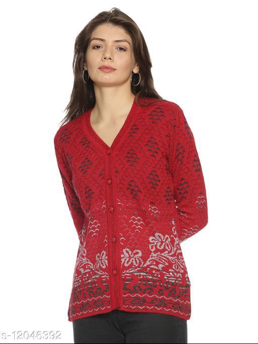 WELNA Women Acrylic Wool V-Neck Smart Fit Winter Wear Cardigan Red Free Size