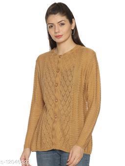 WELNA Women Acrylic Wool Round Neck Smart Fit Winter Wear Cardigan Dark Camel Free Size