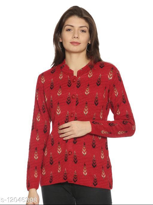 WELNA Women Acrylic Wool Ban Collar Smart Fit Winter Wear Cardigan Red Free Size