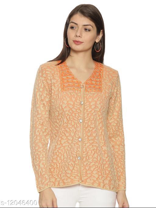 WELNA Women Acrylic Wool V-Neck Smart Fit Winter Wear Cardigan Camel Free Size