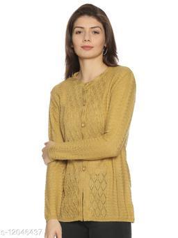 WELNA Women Acrylic Wool V-Neck Smart Fit Winter Wear Cardigan Pink Free Size