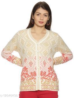 WELNA Women Acrylic Wool V-Neck Smart Fit Winter Wear Cardigan White Free Size