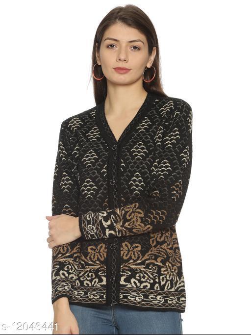 WELNA Women Acrylic Wool V-Neck Smart Fit Winter Wear Cardigan Black Free Size