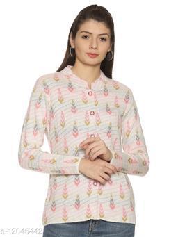 WELNA Women Acrylic Wool Ban Collar Smart Fit Winter Wear Cardigan White Free Size