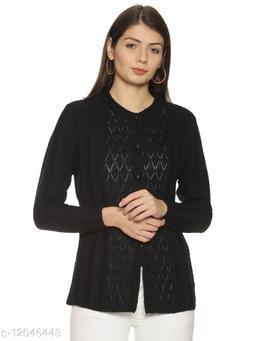 WELNA Women Acrylic Wool Round Neck Smart Fit Winter Wear Cardigan Black Free Size