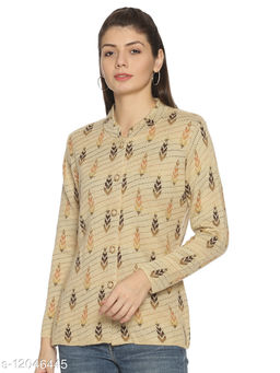 WELNA Women Acrylic Wool Ban Collar Smart Fit Winter Wear Cardigan Camel Free Size
