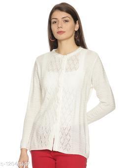 WELNA Women Acrylic Wool Round Neck Smart Fit Winter Wear Cardigan WHT  Free Size
