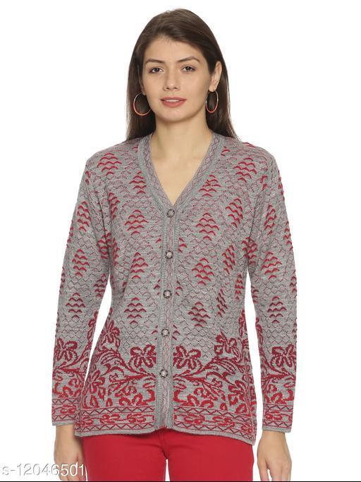 WELNA Women Acrylic Wool V-Neck Smart Fit Winter Wear Cardigan Grey Free Size