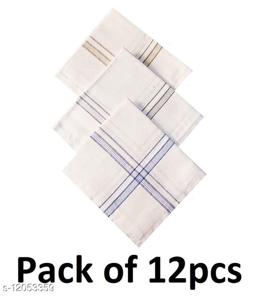 100% Cotton Handkerchief for men, Hanky, Rumal (White, 12pcs)