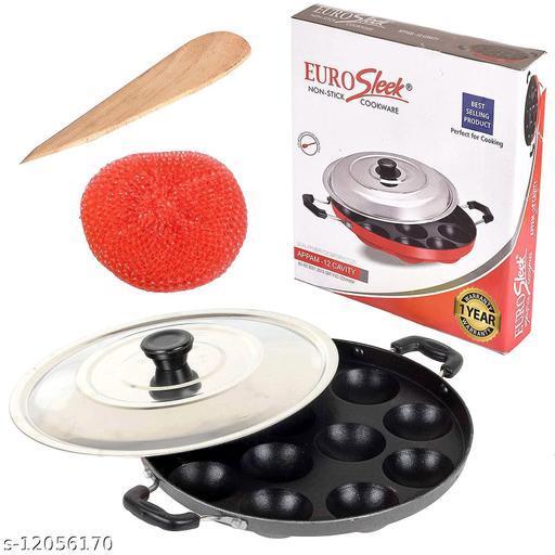 EuroSleek 12 Cavities Non Stick Appam Patra with Lid,Red (Paniyarrakal/Paniyaram/Appam Pan/Maker/Pan Cake Maker)
