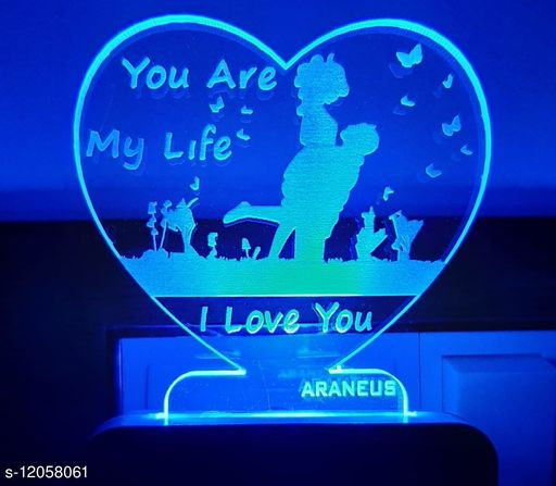 3D STYLISH NIGHTLAMP HEART shaped  couple Night Lamp with 7 Color Changing Light for Gift,for Bedroom, livingroom