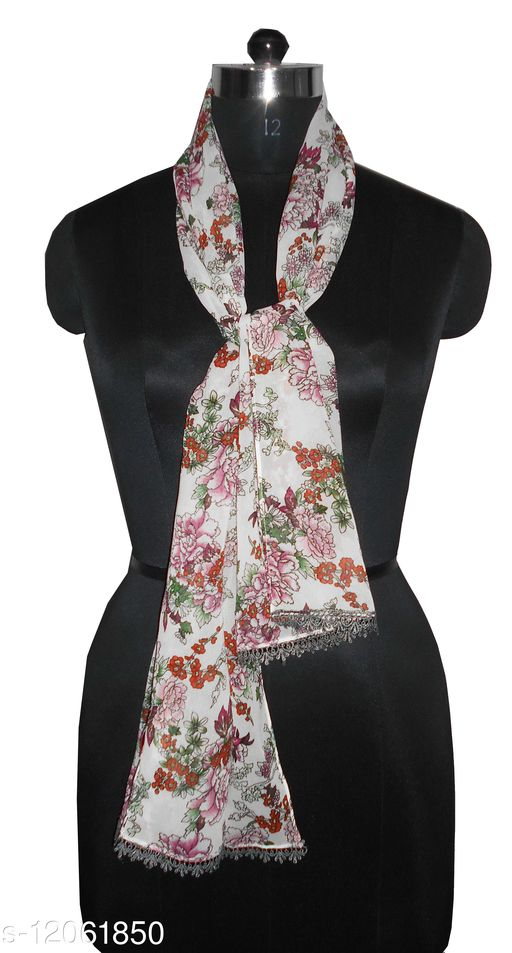 Printed Scarves with Fancy lace