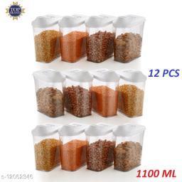 Transparent Plastic Easy Flow Storage Container Jar Dispenser for Kitchen - 1100 ml | Grain, Storage Container Jar,Storage containers, Masala containers, Storage Box,Food Container (set of 12)