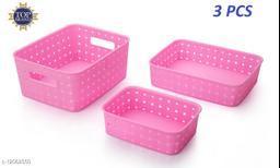 3 Pcs Smart Shelf Basket Storage Basket For Fruits, Vegetables,Magazines, Cosmetics ets Storage Basket (Pink) Colour