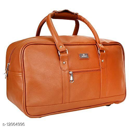 S SIBIA Faux Leather Classy Light Weight Travel 40 L Duffel Bag (Brown)