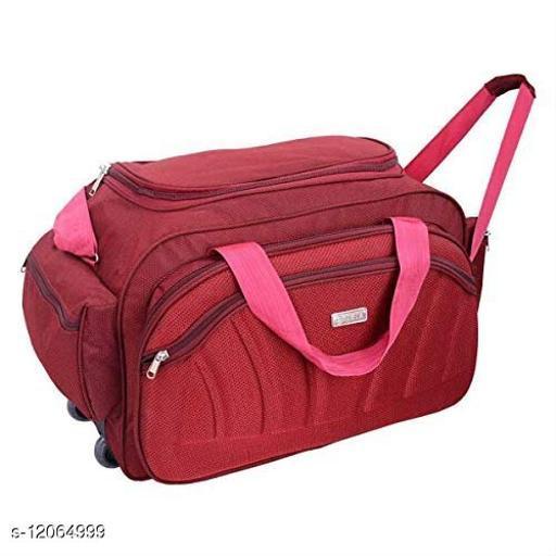 SIBIA Nylon 55 litres Strolley Duffel BagRed Waterproof Travel Duffle Bag with Roller Wheels
