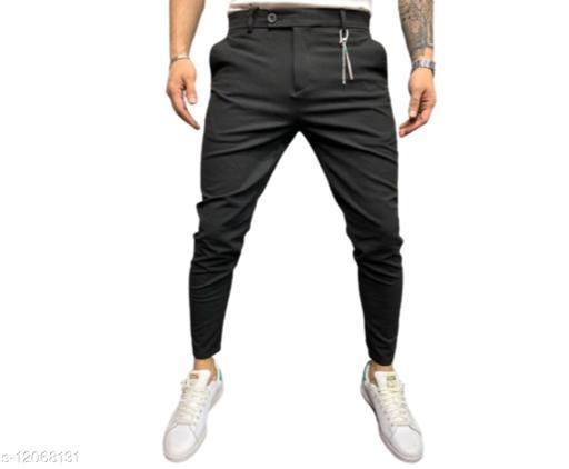 DXB Black Solid Ankle Length Slim Fit Men's Track Pant