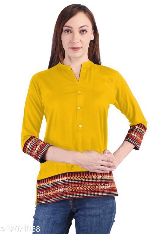 KASHEEDAFAB Women's Casual Rayon Embroidered Straight Top