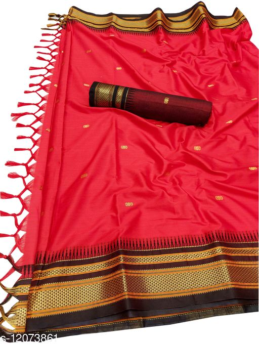 Hirkal Traditional Paithani Silk Sarees With Contrast Blouse Piece  (Red & Black)