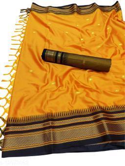 Hirkal Traditional Paithani Silk Sarees With Contrast Blouse Piece  (Mango & Black)