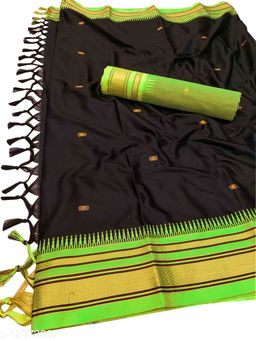 Hirkal Traditional Paithani Silk Sarees With Contrast Blouse Piece  (Black & Neon)