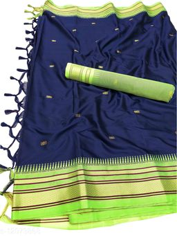 Hirkal Traditional Paithani Silk Sarees With Contrast Blouse Piece  (Navy & Neon)