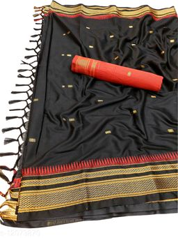 Hirkal Traditional Paithani Silk Sarees With Contrast Blouse Piece  (Black & Red)