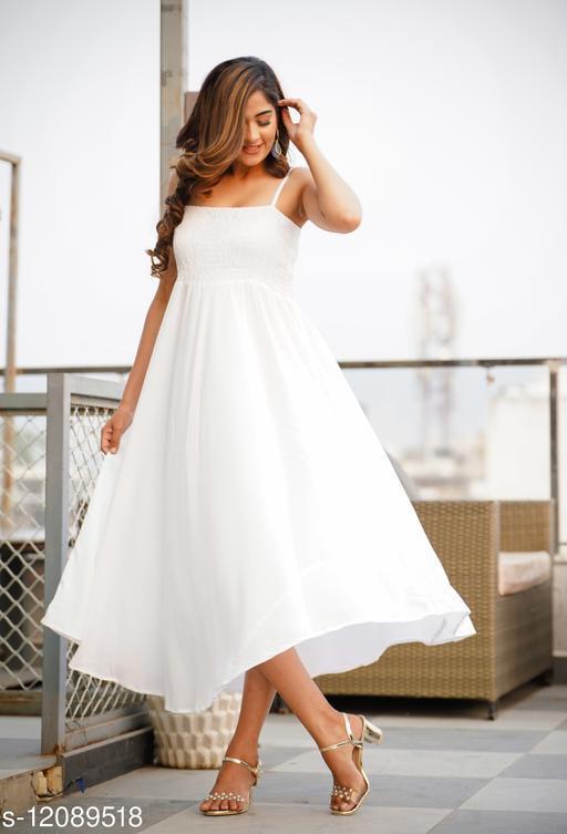 Zamaisha White Rayon A-Line Bobbin Maxi Dress for Women