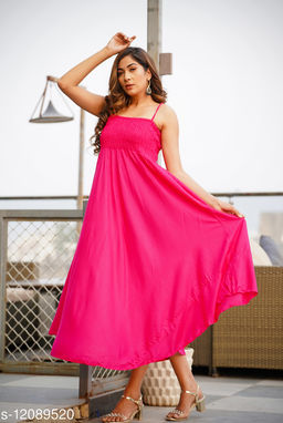 Zamaisha Pink Rayon A-Line Bobbin Maxi Dress for Women