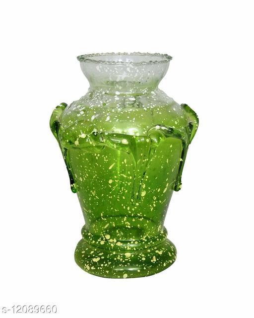 Zircon Flower Vase Decorative Flower Pot for Home Décor | Colour- White & Green | Size(6x3 Inch)