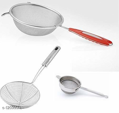Combo of Stainless steel Deep Fry, Soup Strainer and SS Tea Strainer (3 Pcs Combo)