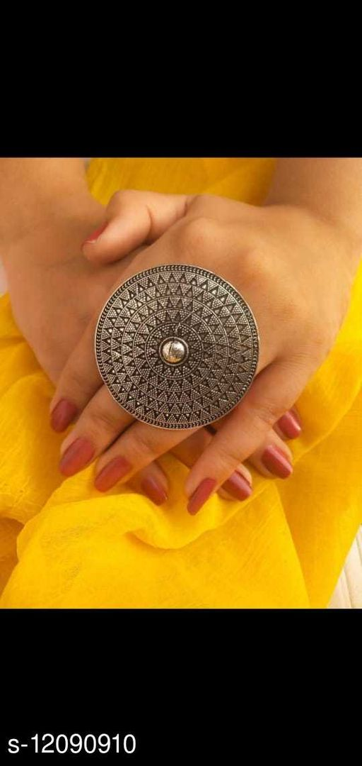 Oxidised Silver Shimmering Fancy Rings