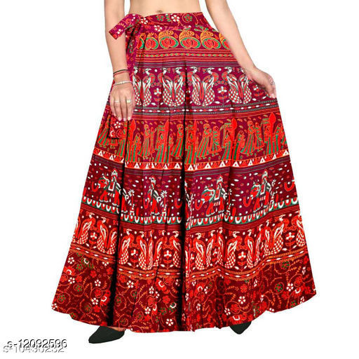 Jaipuri Print Maroon Cotton Wrap Around Skirt for Women/ Girls