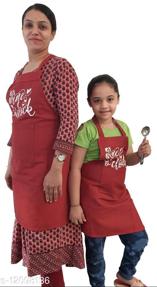 Mom N Daughter Kitchen Apron Set Red