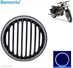 Ramanta Blue Led Plastic Grill for Royal Enfield Classic 350 & Classic 500 Bike Bike Headlight Grill (Black)