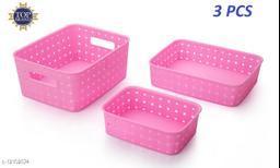 Niebla 3 Pcs Smart Shelf Basket Storage Basket For Fruits, Vegetables,Magazines, Cosmetics ets Storage Basket (Pink) Colour