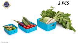 Niebla 3 Pcs Smart Shelf Basket Storage Basket For Fruits, Vegetables,Magazines, Cosmetics ets Storage Basket (Blue) Colour