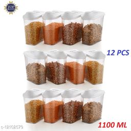 Niebla Transparent Plastic Easy Flow Storage Container Jar Dispenser for Kitchen - 1100 ml   Grain, Storage Container Jar,Storage containers, Masala containers, Storage Box,Food Container (set of 12)
