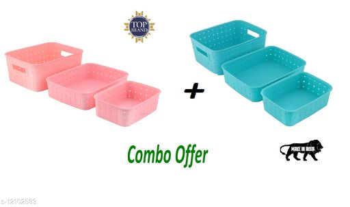 Niebla 6 Pcs Smart Shelf Basket Storage Basket For Fruits, Vegetables,Magazines, Cosmetics ets Storage Basket (Pink + Blue) Colour