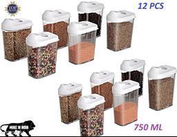 Niebla Transparent Plastic Easy Flow Storage Container Jar Dispenser for Kitchen - 750 ml   Grain, Storage Container Jar,Storage containers, Masala containers, Storage Box,Food Container (set of 12)