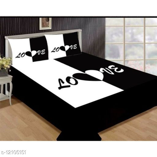 Velvet Bedsheet for Double Bed with 2 Pillow Covers (90x100) 3D Digital Printed for Double Beds (design no.25 )