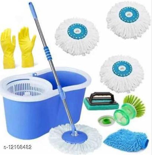 Plastic Bucket Mop set 360 Degree Rotating with 3 Absorber,1 Sink brush ,1 tile Brush,1 glove wet & Dry Mop set