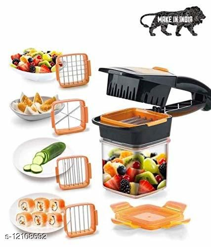Dicer Quick Chopper for Fruit and Vegetables 5-in-1 Multi-Slicer with Interchangeable Blade Inserts 30 Cubes or 10 Slices with a Click! (Orange/Green)