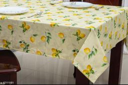 Ixora Home Cotton- digital print Yellow Color Lemon fruit design -4 Seater Table Cloth (Pack of 1)