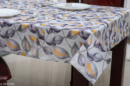 Ixora Dining Tablecloth-4 Seater, Cotton digital Print Grey colour Leaf Designed Table Cloth (Pack of 1)