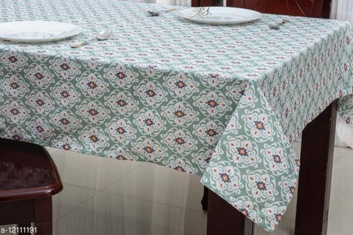 Ixora Home Cotton, Fleur de lis Design printed Table Cloth-4 Seater (Pack of 1)