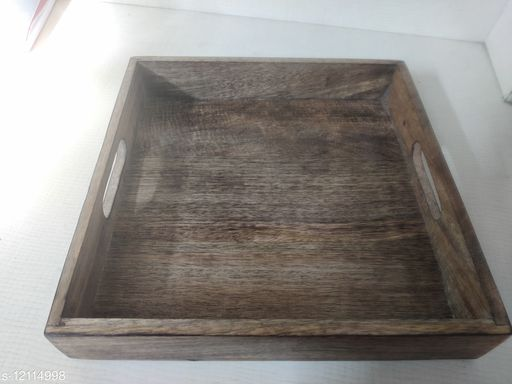 Fancy Pure Mango Wood Tray With Antique Rope Handels