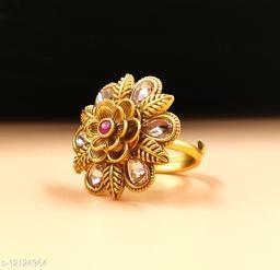 Neelam Traditional Matte Gold Plated  Adjustable Finger Ring for Women & Girls