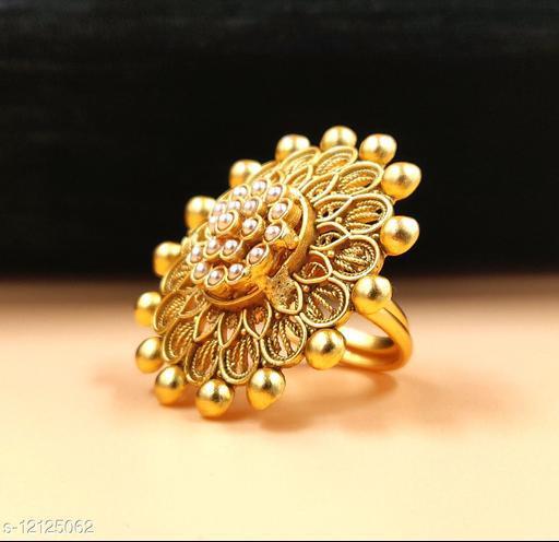 Neelam Innovative Matte Gold Plated  Adjustable Finger Ring for Women & Girls